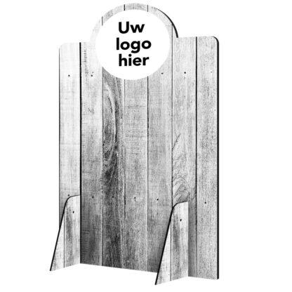Scheidingswand hoog hout 2 met logo
