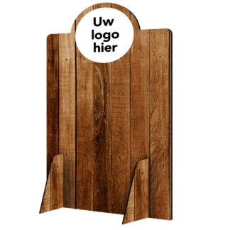 Scheidingswand hoog hout met logo